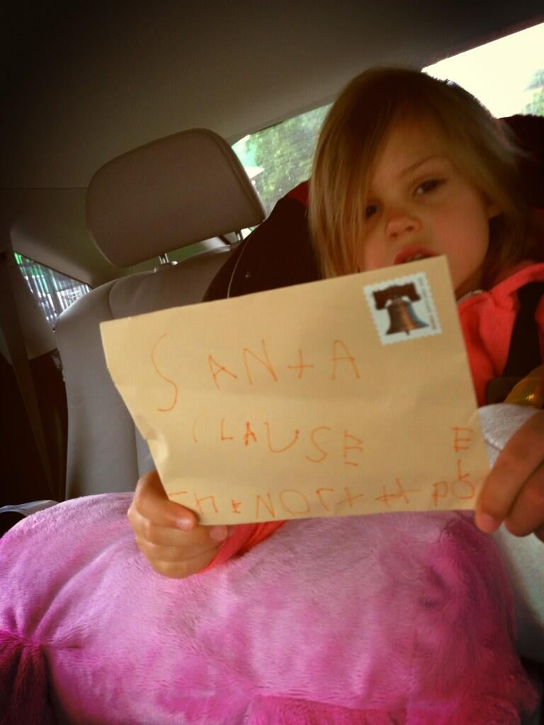 Birdie Silverstein is thinking ahead to Christmas! She had mama Busy Philipps stop at the post office to mail a letter to the boss at the North Pole this week. Source: Twitter user Busyphilipps25