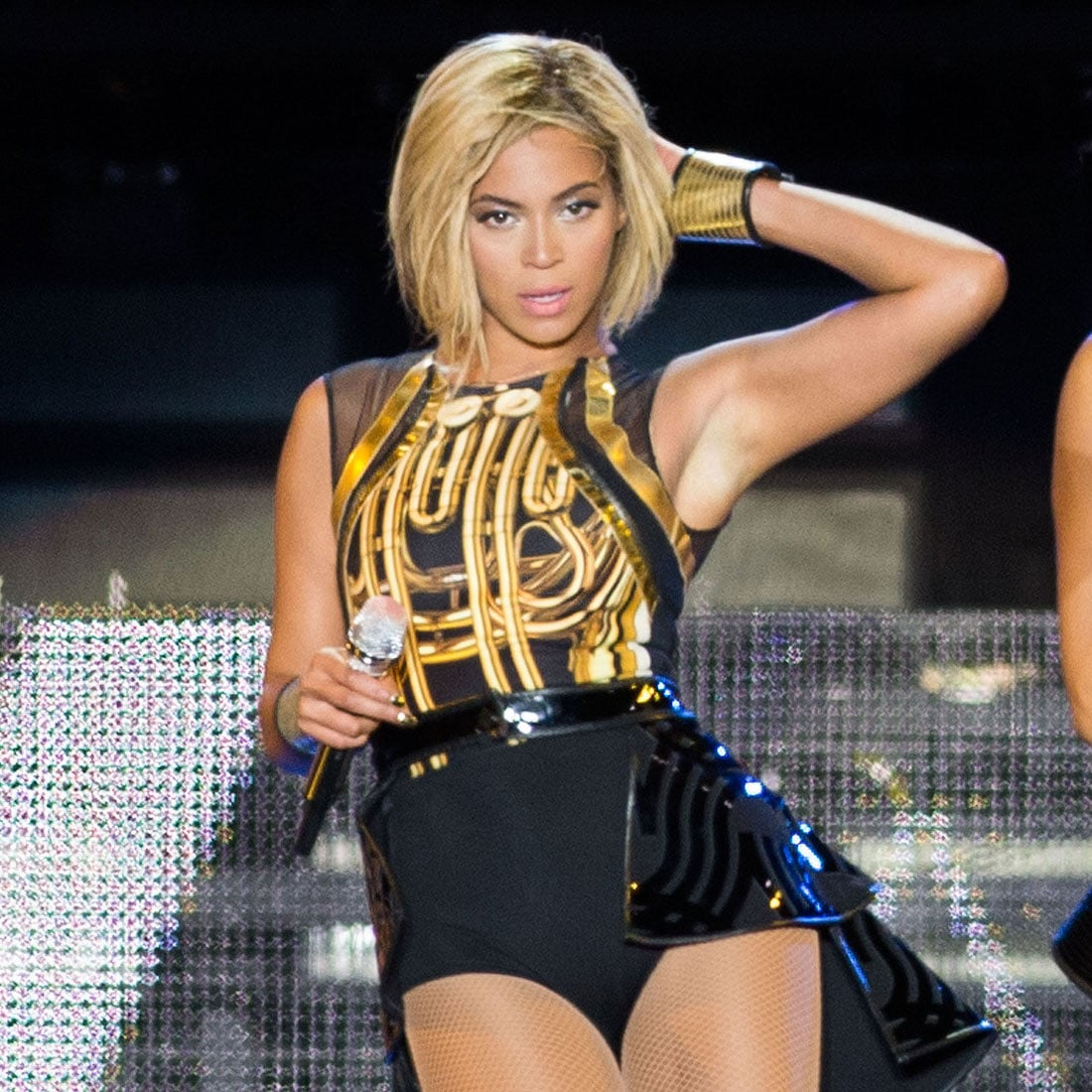 da775109f5 Queen Bey took the stage in a sheer and embellished Givenchy Haute ...