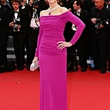 Jane Fonda donned a long-sleeved form-fitting Badgley Mischka gown in a girlie fuchsia hue with a matching Chopard necklace for the Inside Llewyn Davis premiere.