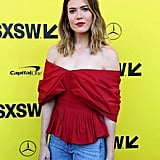 Mandy Moore Red Off the Shoulder Top