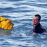Matt Damon swam a waterproof bag out to a boat.