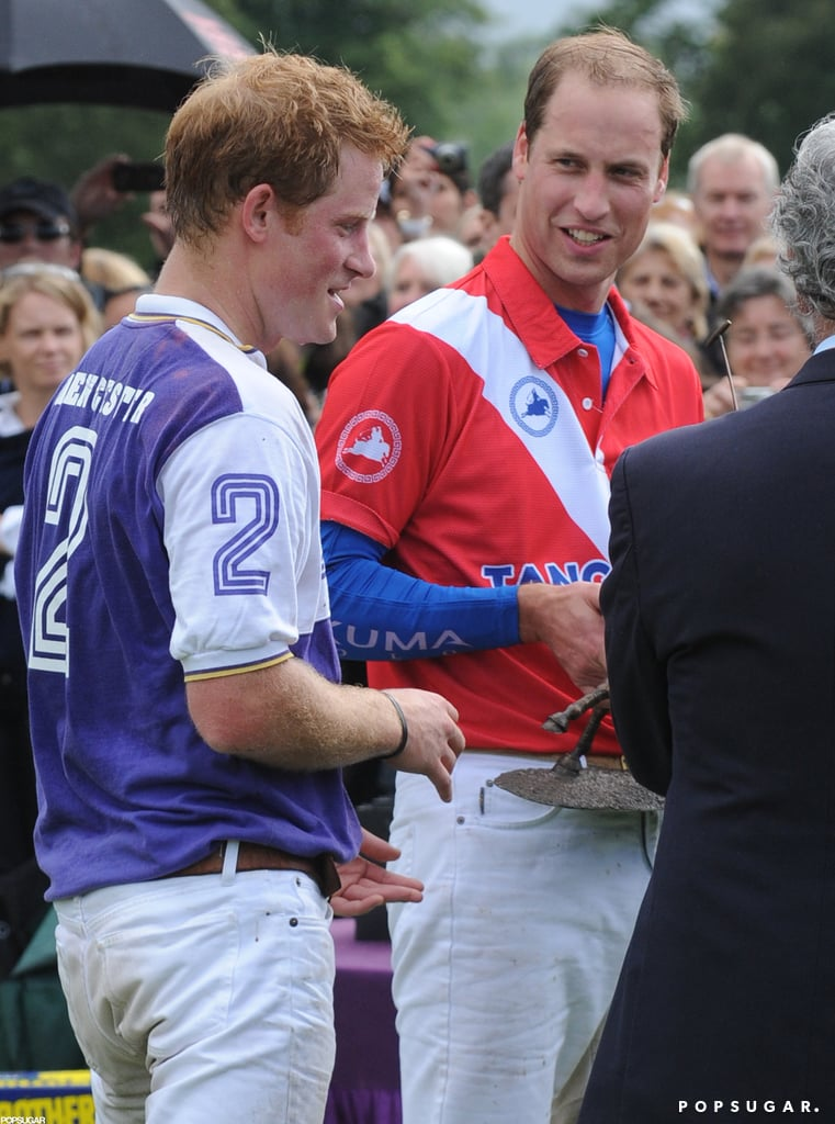 Prince William and his brother, Prince Harry, broke from watching sports at the Olympics to play in their own polo match yesterday. The royals played at the Cirencester Park Polo Club in a matchup held to benefit three charities close to their hearts, homeless organization Centrepoint, children's welfare group WellChild, and a Lesotho-focused philanthropy called Dolen Cymru. William and Harry wanted to participate in the polo game, but still see their favorite Olympic events. William and Harry got the polo time moved up by a half hour so they could make it back to Olympic Park and cheer on Usain Bolt in the 100-meter race. Harry and Usain struck up a friendship during the royal's visit to Jamaica earlier this year. Harry showed his support for Usain and Jamaica by wearing a green, yellow, and red scarf given to him by Bob Marley's widow, Rita Marley.