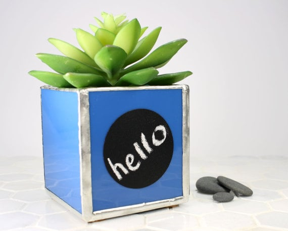 Blue Desk Plant Holder