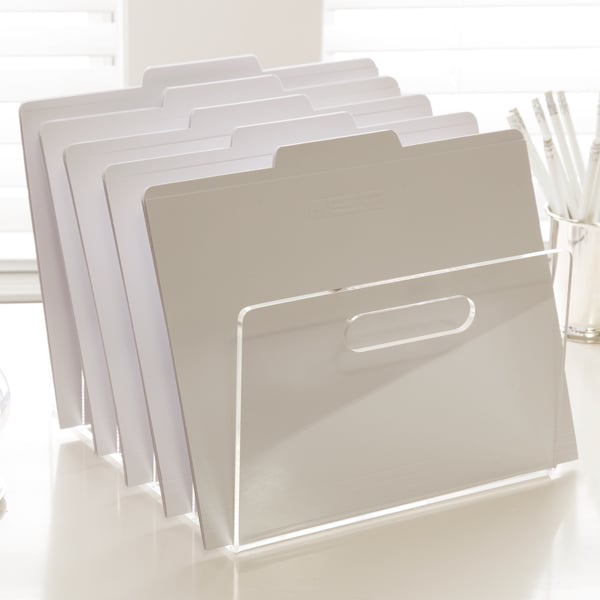 Everything looks modern and cool in acrylic, even office files, as seen in this file holder ($34).