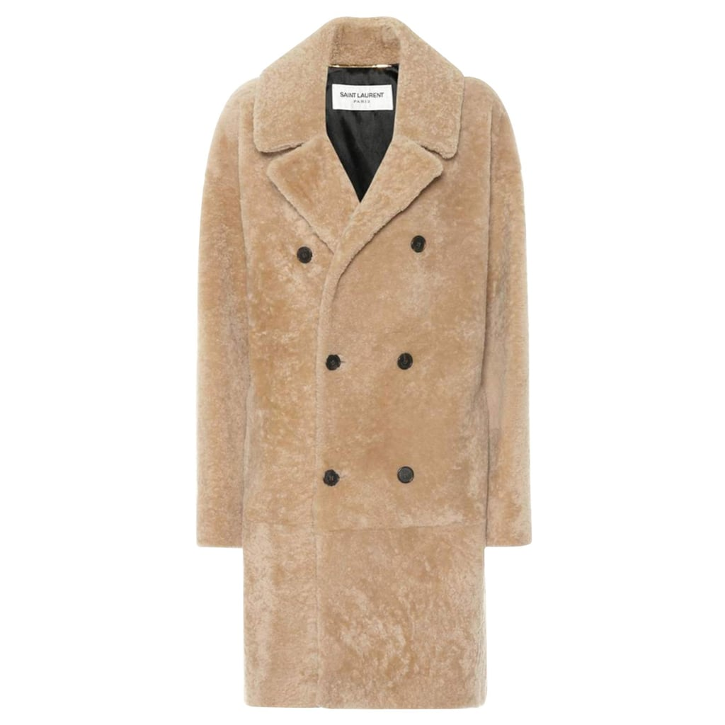 Saint Laurent Double Breasted Shearling Coat