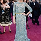 Wearing Elie Saab Couture to the 2013 Oscars in Hollywood, Alicia celebrated A Royal Affair being nominated for best foreign film.