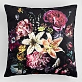 Black Floral Bouquet Velvet Throw