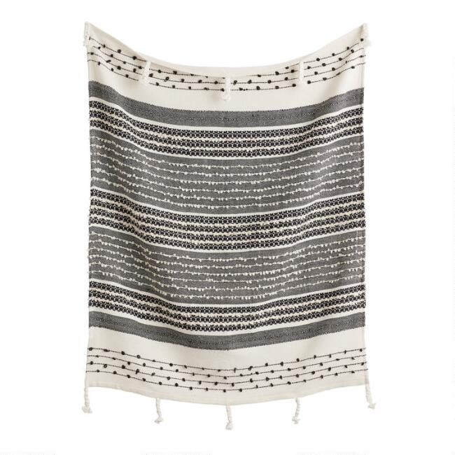 Black and Ivory Woven Indoor Outdoor Throw Blanket