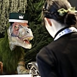 The dinosaur receptionists speak many languages, so they can help out visitors from all over the world. Is this seriously real life?