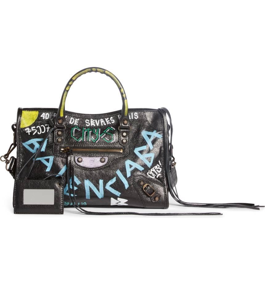 d85840622d4 Balenciaga Small City Graffiti Leather Tote