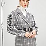 Shein Ruffle Trim Double Breasted Plaid Blazer Without Belt