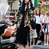 Liven Up Your Black Slip Dress With a Camo Jacket