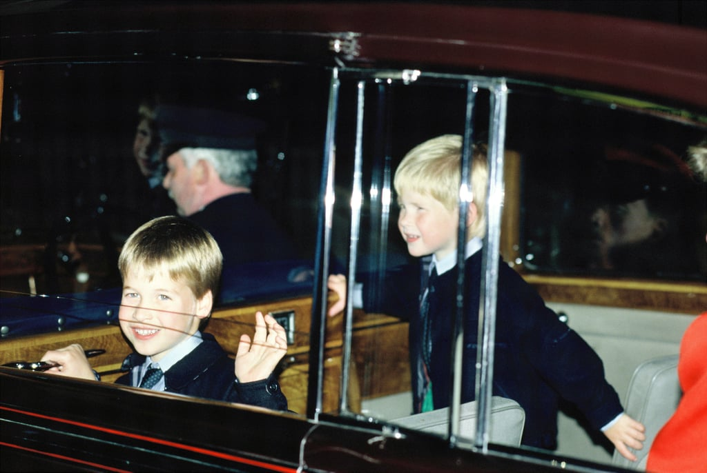 William gave a wave and Harry smiled for the cameras as they arrived for the Royal Tournament in Earls Court back in July 1988.