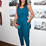 Helena Christensen kept it chic in a belted, blue jumpsuit.