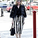 POPSUGAR fashion and beauty director Melissa Liebling-Goldberg played it cool in black and white.