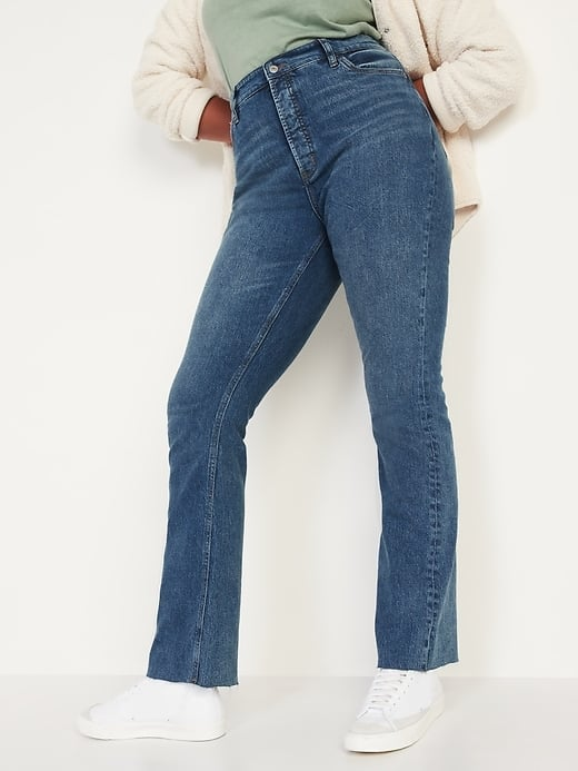 Extra high-waisted button-fly kicker boot-cut ripped cut-off jeans