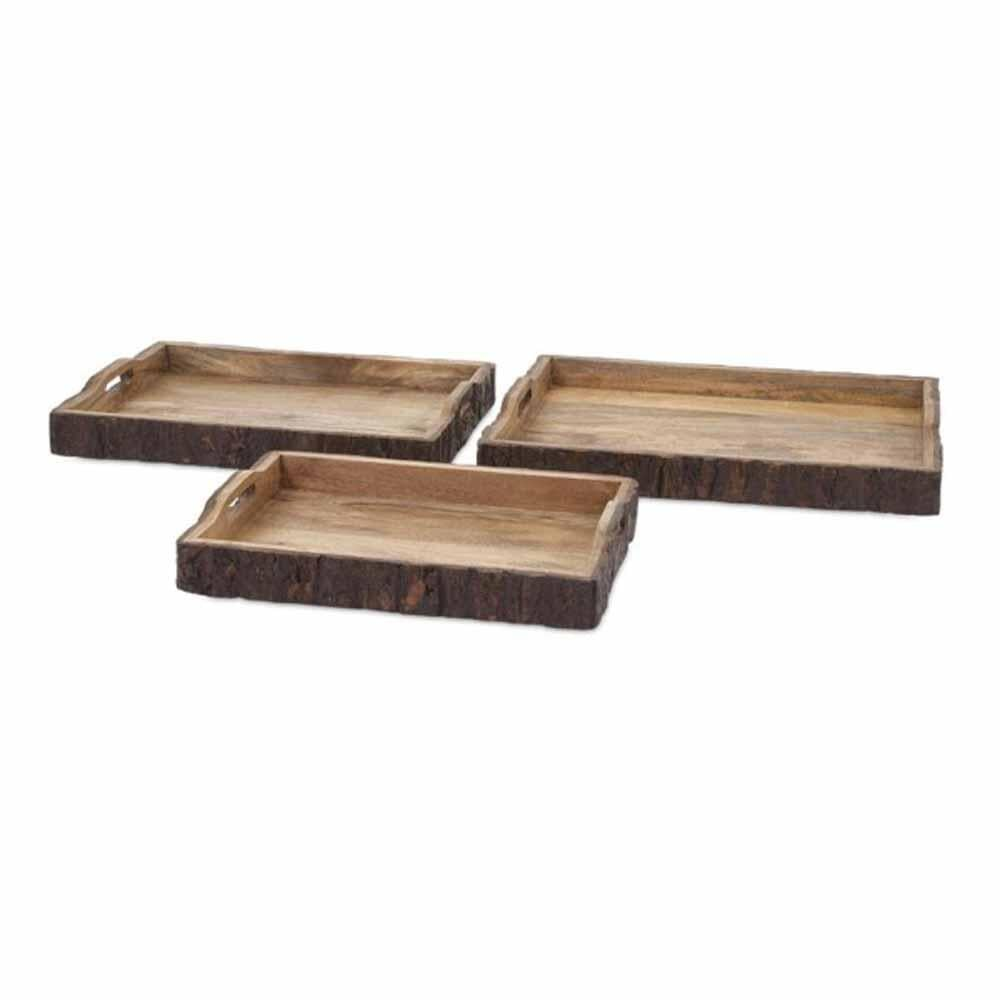 IMAX Nakato Wood Bark Serving Trays (Set of 3)