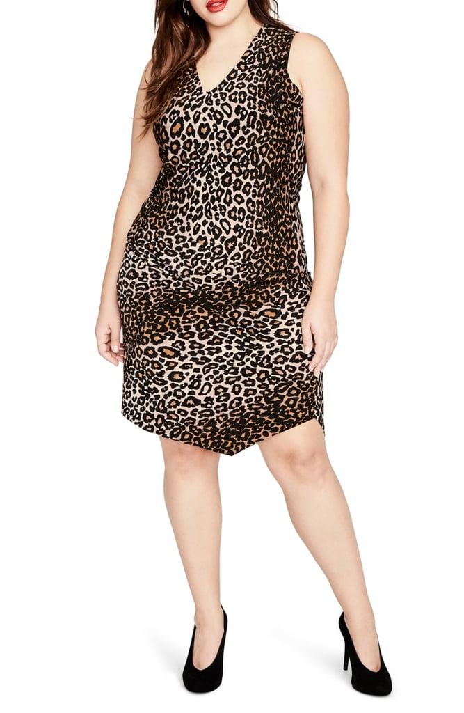 Rachel by Rachel Roy Leopard-Print Asymmetrical Drape Dress