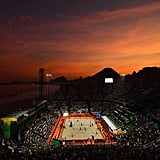 August 6: The sun sets over the beach volleyball courts on day one of the 2016 Rio Olympics Games.