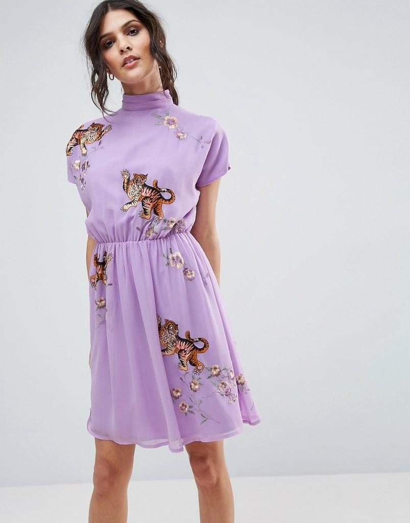 ASOS Premium Open Back Tea Dress
