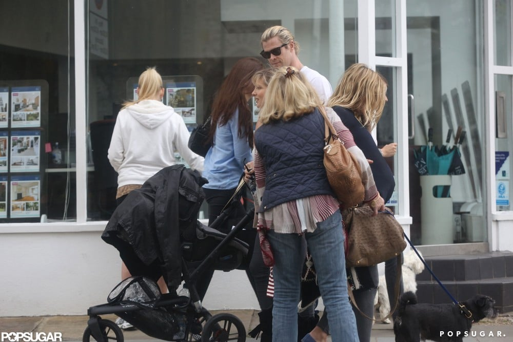 Chris Hemsworth and his wife Elsa Pataky ran into Sienna Miller while pushing baby India for a walk in London.