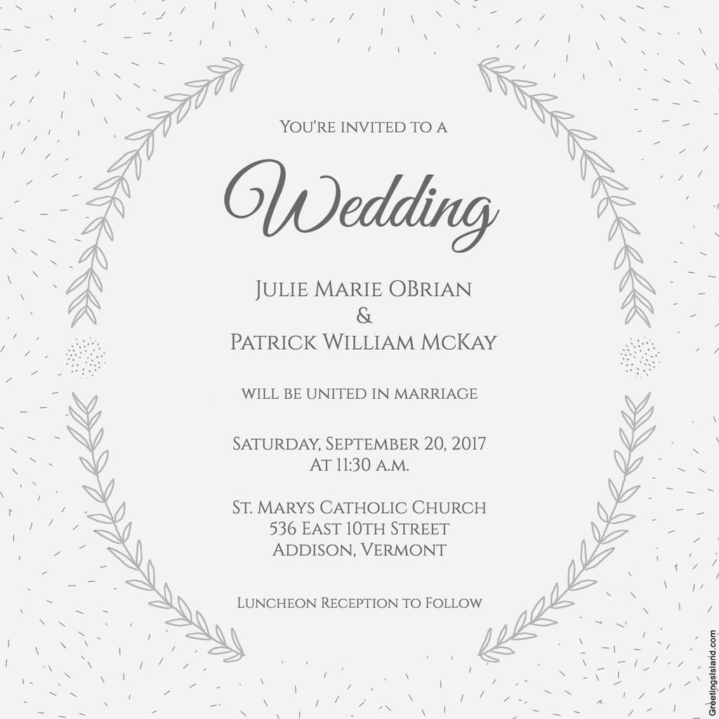 Rhode Island Wedding Invitation Printed: Stylized Laurels Wedding Invitation