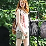 Emma Stone got to work on the set of the new Woody Allen film in Rhode Island on Wednesday.