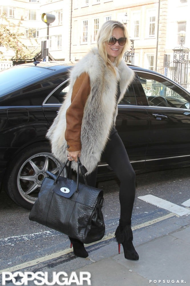 Kate Moss hopped out of a car and headed inside a London building.