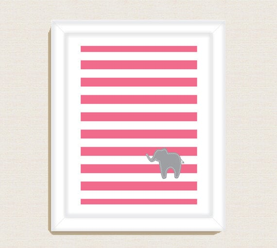 Add playful charm to your child's space with this customizable striped elephant nursery print ($10).