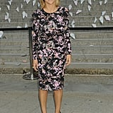 Tory Burch attended the Vanity Fair Tribeca Film Festival party in a long-sleeved graphic-print sheath, finishing it all off with classic black pumps.
