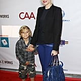 Gwen and Kingston arrived in style at a children's event in LA in 2012.