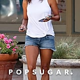 Halle Berry stopped in Malibu for a pedicure on Sunday.