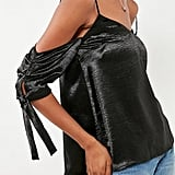 Silence + Noise Shiny Cold-Shoulder Tie Top