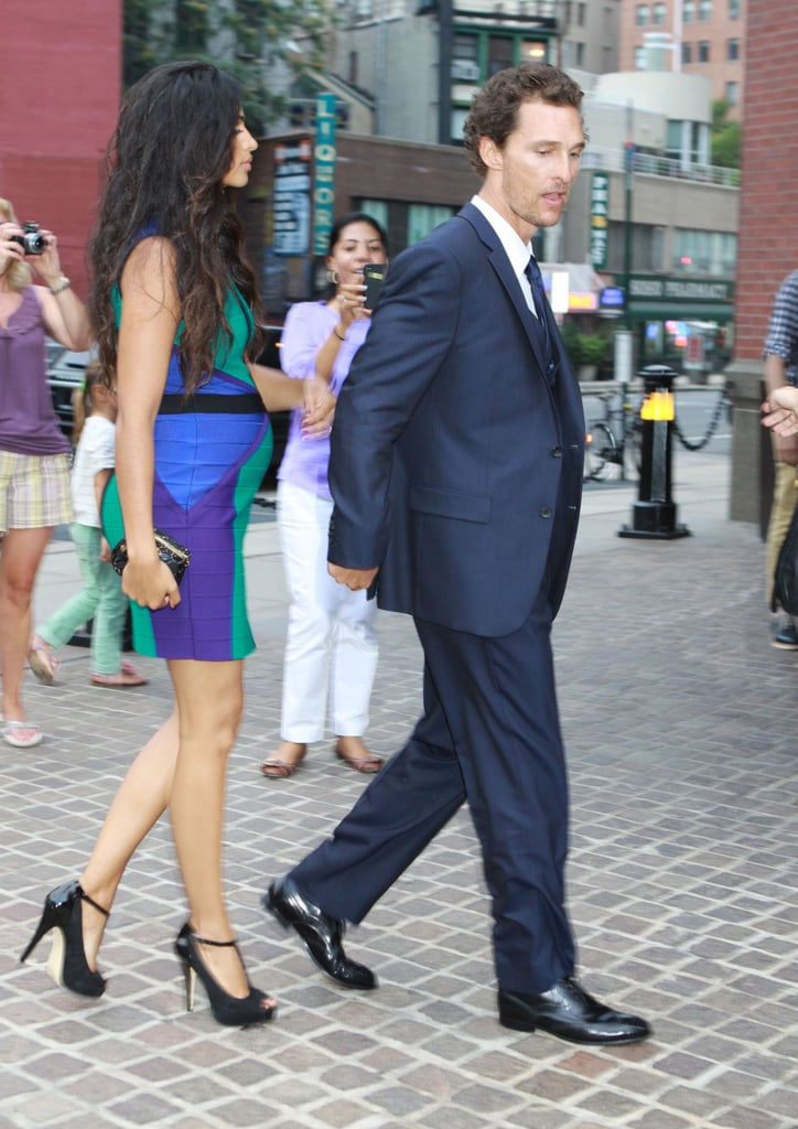 Matthew McConaughey and Camila Alves walked into a screening of Killer Joe in NYC.