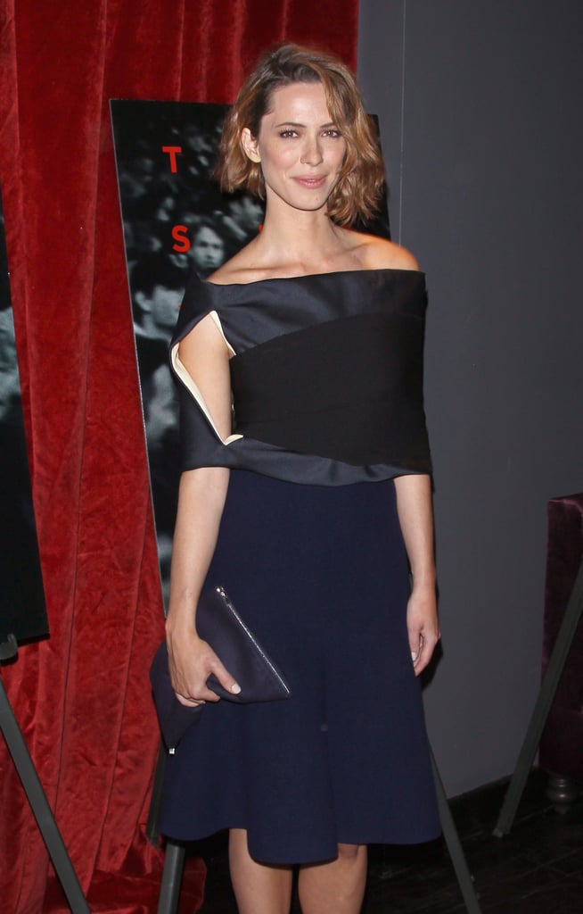 Rebecca Hall looked modern in an asymmetric Céline design at the New York screening of Closed Circuit.
