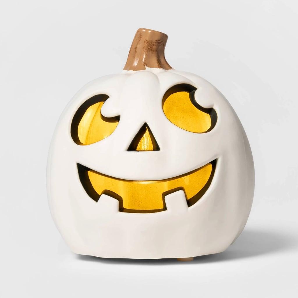 Lit Two Teeth Pumpkin Decorative Halloween Prop