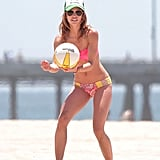 AnnaLynne McCord got serious during a volleyball game in her bikini.
