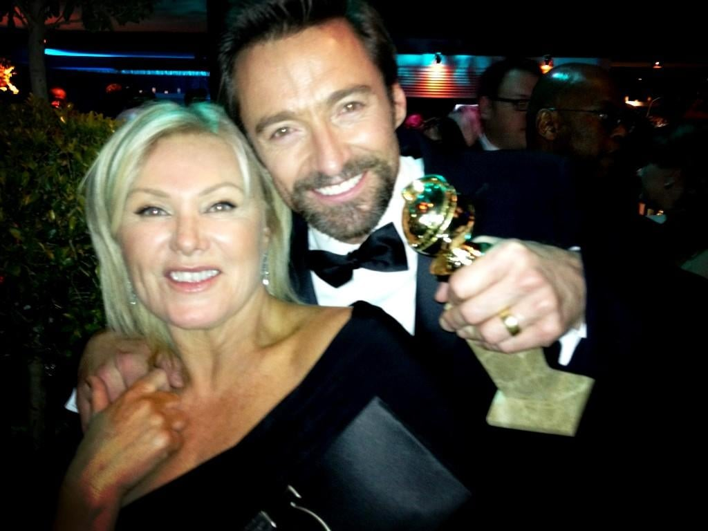 Hugh Jackman and his wife Deborra-Lee Furness celebrated his big best actor win. Source: Twitter user RealHughJackman