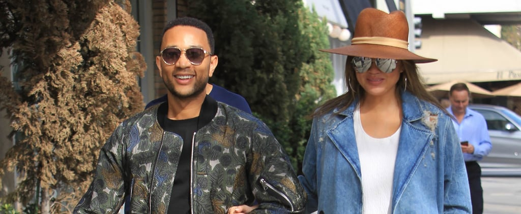 Chrissy Teigen Wearing Denim Shorts While Pregnant