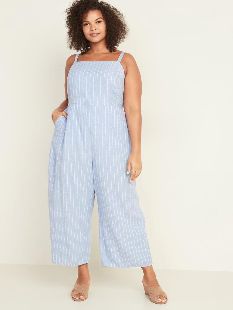 Old Navy Square-Neck Plus-Size Linen-Blend Cami Jumpsuit