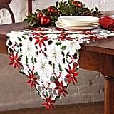 Embroidered Table Runner Poinsettia Table Runner
