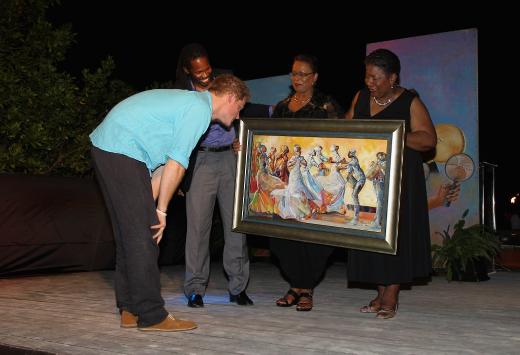 Prince Harry checked out art in Jamaica.