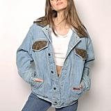 Louis Vuitton patch denim shearling jacket