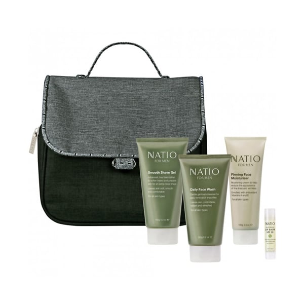 Natio For Men Gift Drover Pack Kit ($30) The Natio For Men Gift Pack contains luxurious face products including a shave gel, daily face wash moisturising lip balm and a firming face moisturiser. Plus, the hanging toiletry bag will come in handy if he plans on travelling in the new year.