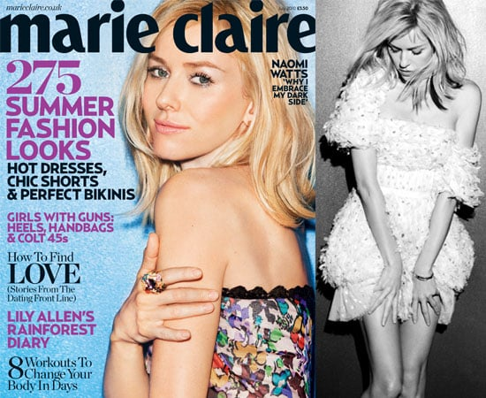 Pictures of Naomi Watts in Marie Claire UK July 2010 Talking About Her Engagement Liev Schreiber, Heath Ledger, Father's Death