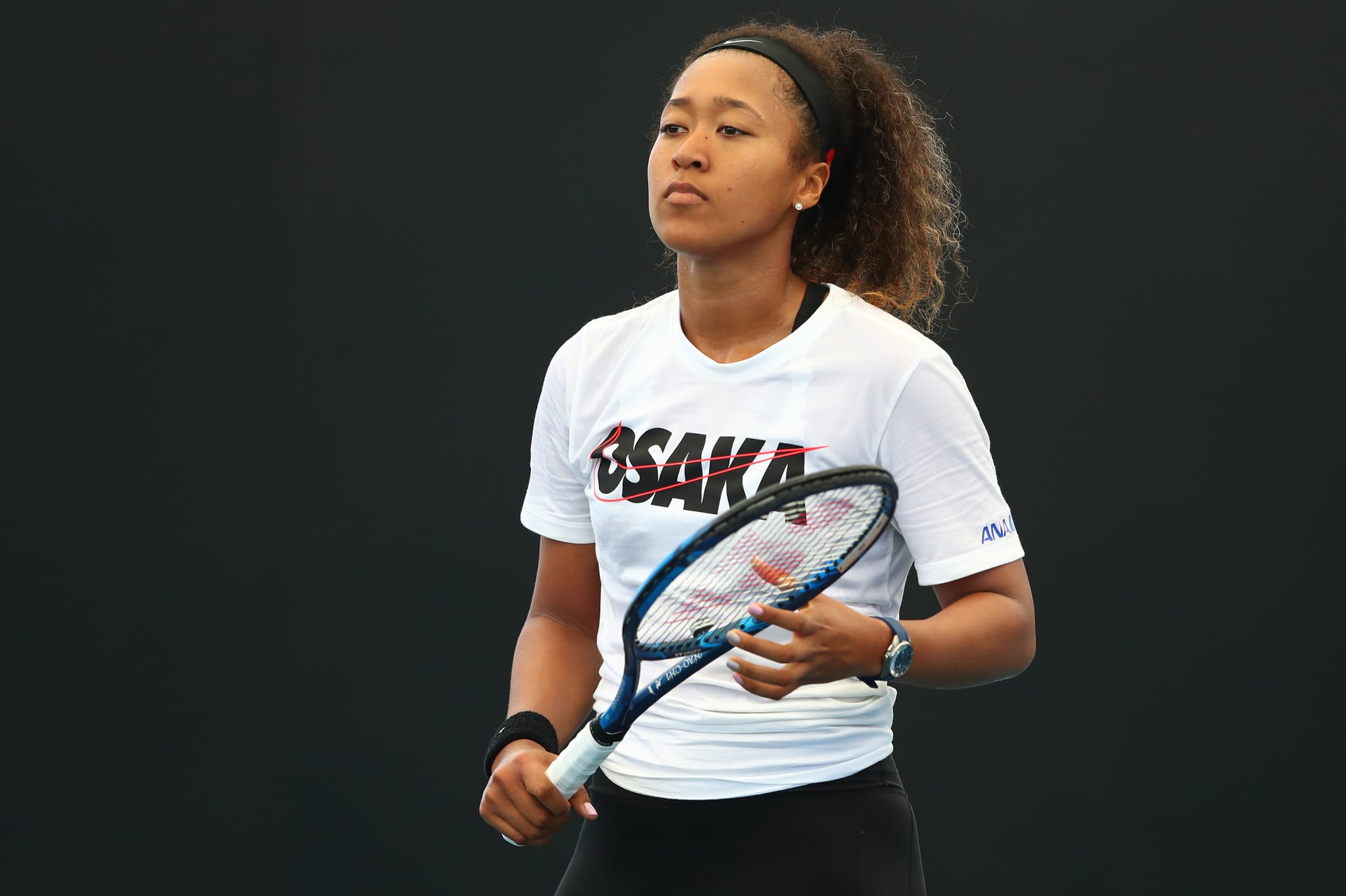 BRISBANE, AUSTRALIA - JANUARY 03: Naomi Osaka of Japan during a practice session ahead of the 2020 Brisbane International at Pat Rafter Arena on January 03, 2020 in Brisbane, Australia. (Photo by Chris Hyde/Getty Images)