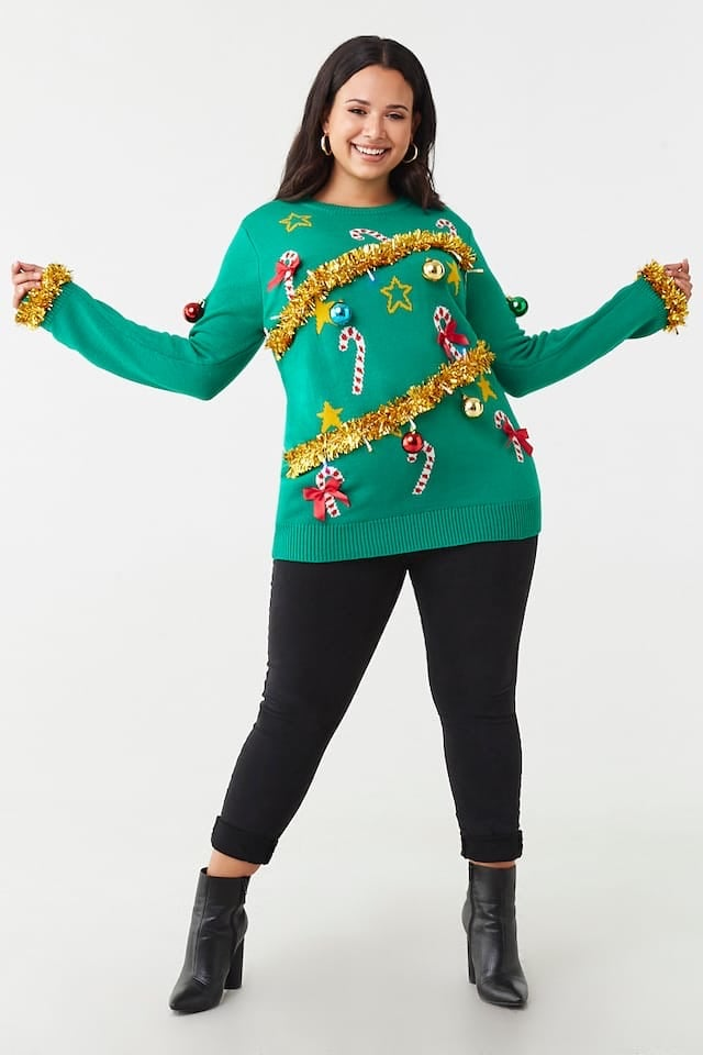 Plus Size Christmas Tree Sweater Dress | Forever 21 Is ...