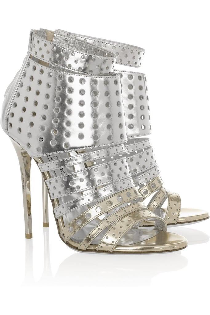 We love the modern laser-cut details on Jimmy Choo's Malika Perforated Leather Sandals ($995).