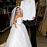 Nick Lachey and Kelly Ripa dressed up as Kris Humphries and Kim Kardashian.