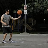 Schmidt tries to impress Winston's sister with some one-on-one basketball.